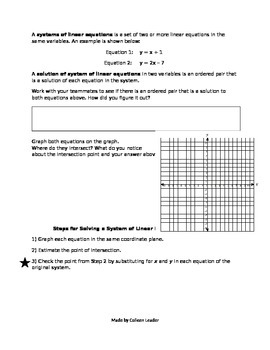 Systems of Linear Equations by Graphing Lesson