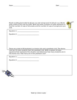 Systems of Linear Equations by Substitution Lesson