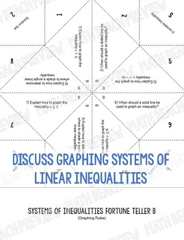 Systems of Linear Inequalities Fortune Teller Activity
