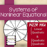 Systems of Nonlinear Equations Puzzle (Linear-Quadratic & Quadratic-Quadratic)
