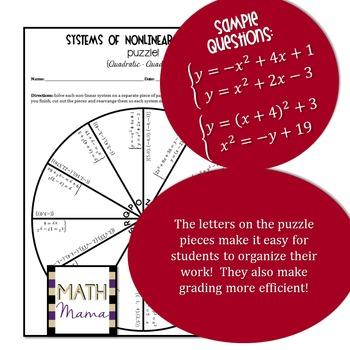 Systems of Nonlinear Equations Puzzle (Linear-Quadratic & Quadratic-Quadratic)