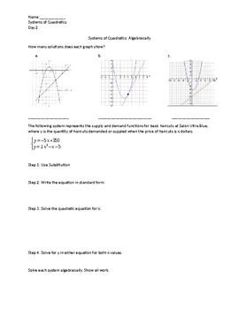 Systems of Quadratics Notes