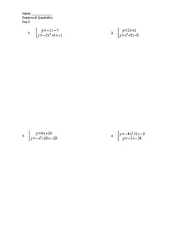 Systems of Quadratics and Linear Guided Notes