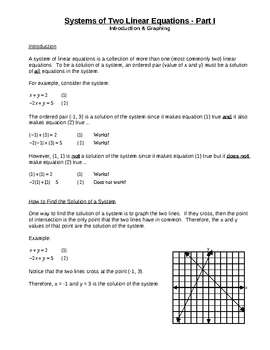 Systems of Two Linear Equations I for Busy Teachers