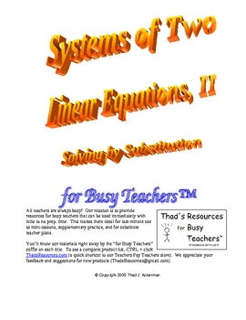 Systems of Two Linear Equations II for Busy Teachers