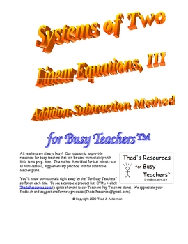 Systems of Two Linear Equations III for Busy Teachers