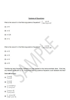 Systems of equations  PARCC style questions