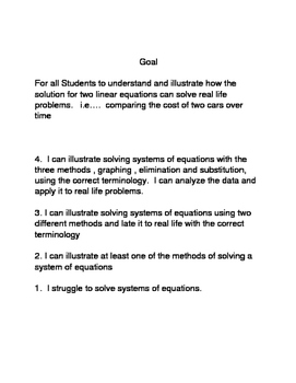 Systems of equations goal