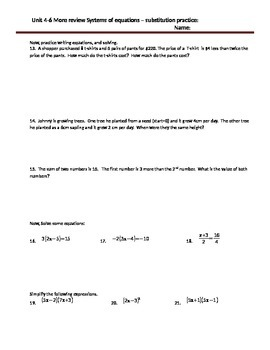 Systems of equations practice Substitution