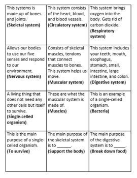 Systems of the Body and Cells BINGO