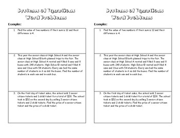 Systems with Word Problems INB Notes
