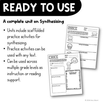 Synthesizing Reading Strategy Unit: Notes, Practice, & Assessment + INB