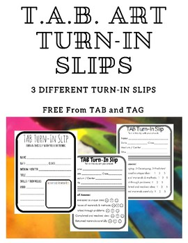 T.A.B. Art Turn-In Slips