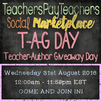 T-A-G DAY - Teacher-Author Giveaway Day - 31st August 2016 #TAGDAY