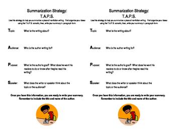 T.A.P.S. Summarization Strategy