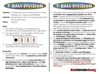 T-Ball Division - 4th Grade Math Game [CCSS 4.NBT.B.6].
