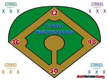 T-Ball Multiplication - Multiplication - 4th Grade Game [CCSS 4.NBT.B.5].