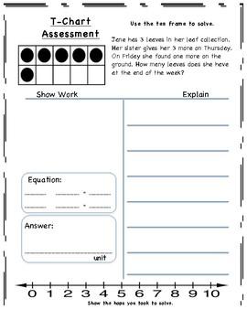 T-Chart Ten Frame Math Word Problem