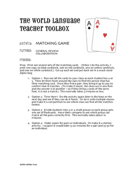 Spanish Tú Commands Matching Game