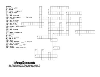 Spanish Tú Commands Puzzle Pack