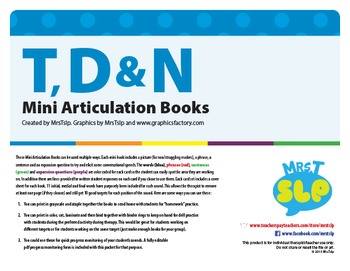 Articulation Mini Books: T, D, N Sounds