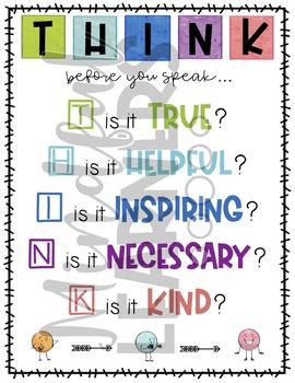 T.H.I.N.K. Before You Speak Poster- FREEBIE