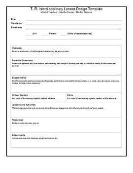 T. R. Interdisciplinary Lesson Design Template