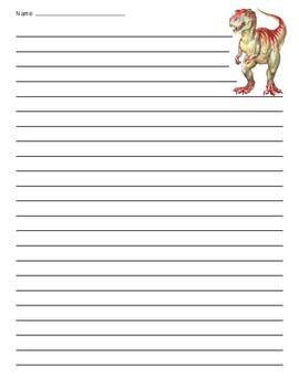T-Rex Dinosaur Lined Paper