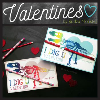 T Rex Rainbow Valentines