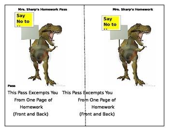 T-Rex homework pass