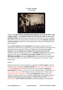 HSC T.S. Eliot Preludes: Study Guide