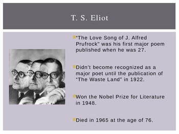 """T . S. Eliot and Modernism (intro to """"Prufrock"""")"""