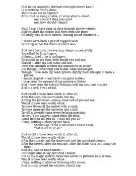 """T.S. Eliot's """"The Love Song Of J. Alfred Prufrock"""" webquest"""
