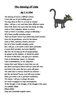T S Elliot's poem the naming of cats
