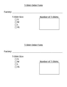 T-Shirt Factory Order Forms