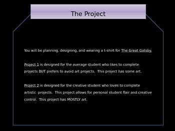 T-Shirt Project Culminating Assessment: The Great Gatsby