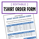 T-Shirt Spirit Wear Order Form - Editable Word Doc