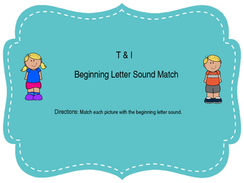 T and I Beginning Sound Letter Match
