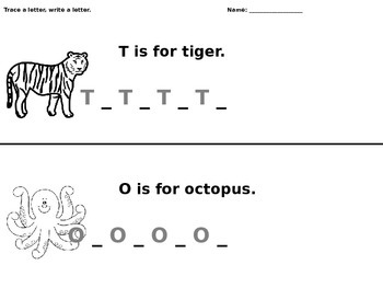T and O Writing Worksheet