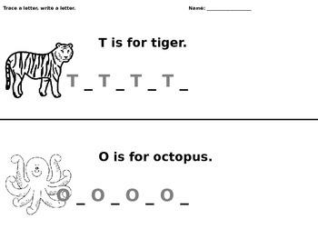 T and O Writing Worksheet