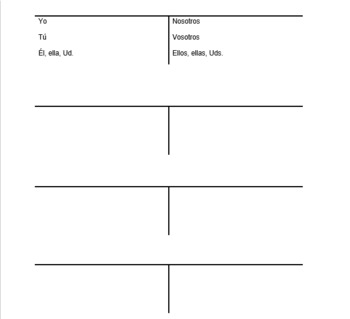 picture about T Chart Printable known as T-charts (Verb conjugation prepare)