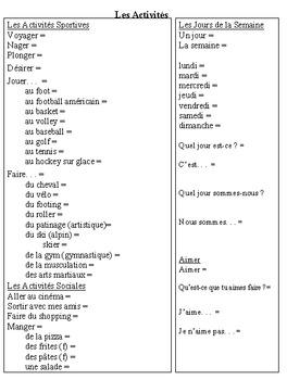 """T'es Branché Level 1 Unité 2A """"Les Activités"""" Vocab List"""