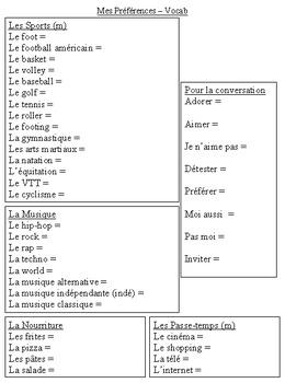 """T'es Branché Level 1 Unité 2C """"Mes Préférences """" French Vocab List"""
