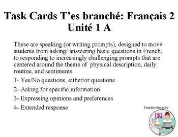 T'es Branché Level 2 Unit 1A Task Cards