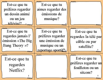 T'es Branché Level 2 Unit 1B Task cards