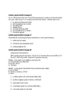T'es Branche Unit 1 Lesson B Guided Notes and Activity handouts