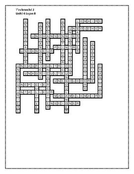 T'es branché 2 Unité 4 Leçon B Crossword
