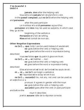 T'es branché 3 Unité 4 Study Guide