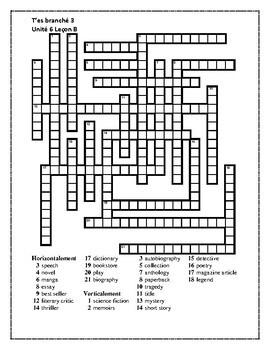 T'es branché 3 Unité 6 Leçon B Crossword