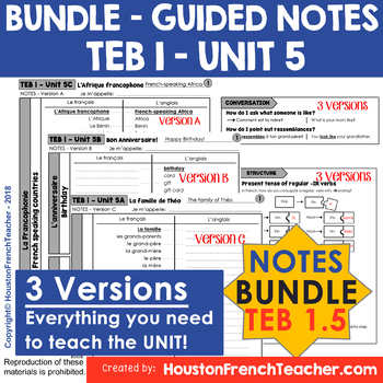 T'es branche Guided notes Level 1 TEB 1 Unit 5 (BUNDLE - TEB 1 UNIT 5 - NOTES)